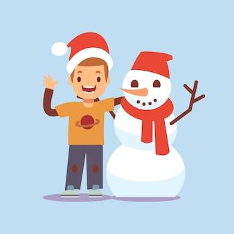 Menino feliz e boneco de neve. personagens de desenhos animados de festa de natal