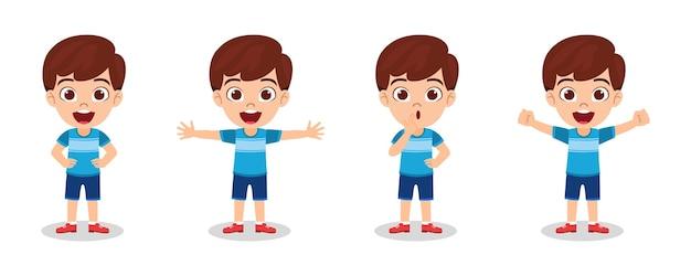 Menino feliz e fofinho com pose diferente e fazendo ações diferentes, isolado no fundo branco