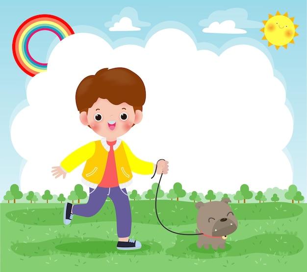 Menino feliz e fofo levando seu cachorro para passear ao ar livre na natureza