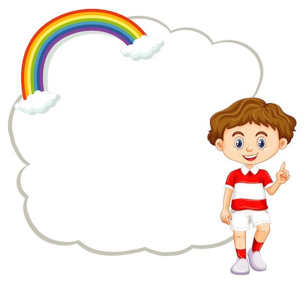 Menino feliz e modelo de quadro de uma nuvem