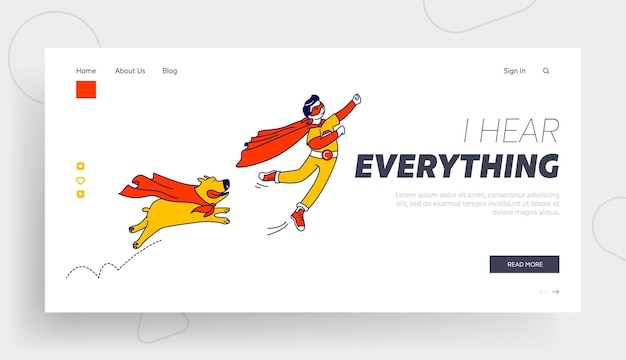 Menino feliz e personagens de super-heróis de cachorro voando modelo de página de destino.