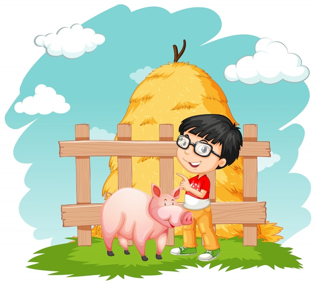 Menino feliz e porco na fazenda