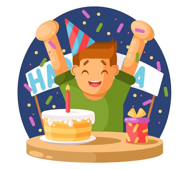 Menino feliz e um bolo de aniversário. ilustração vetorial