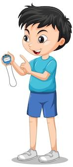 Menino feliz em pé e segurando um cronômetro