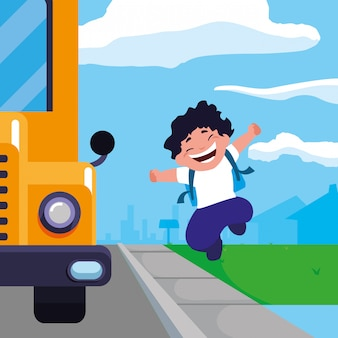 Menino feliz estudante na cena de ponto de ônibus escolar