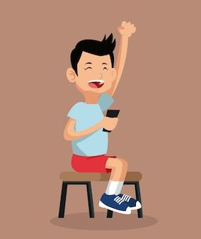 Menino feliz jogando videogame sentado na cadeira