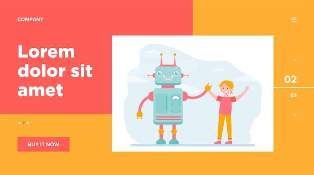 Menino feliz levantando as mãos com o robô. engenharia, futuro, ilustração em vetor plana de conhecimento. tecnologia e design de site de conceito da indústria de robótica ou página de destino