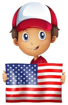 Menino feliz, segurando, bandeira, de, américa