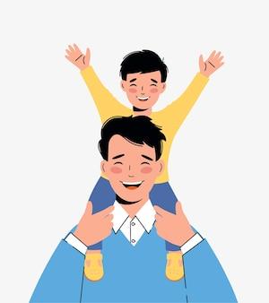 Menino feliz senta-se nos ombros do pai. conceito de uma família amigável. dia dos pais.