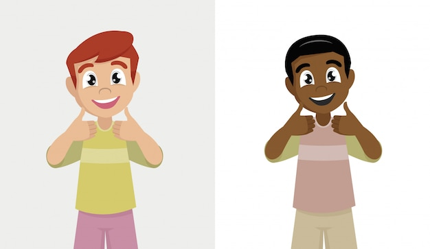 Menino feliz sorrindo fazendo polegares para cima o sinal com as duas mãos.