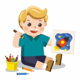 Menino feliz tirar fotos, lápis e tintas no chão. vetor isolado.