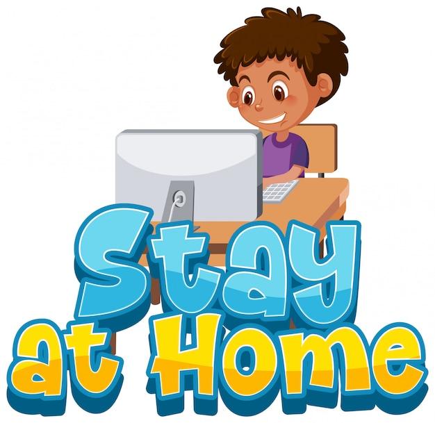 Menino fica em casa para evitar a propagação do vírus corona