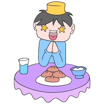 Menino fica feliz na mesa de jantar ao quebrar o jejum do ramadan kareem, arte de ilustração vetorial. imagem de ícone do doodle kawaii.