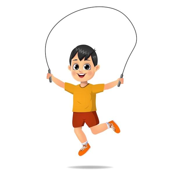 Menino fofo brincando de pular corda