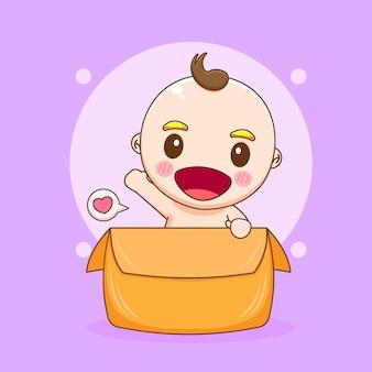 Menino fofo brincando dentro de uma caixa de ilustração de desenho animado