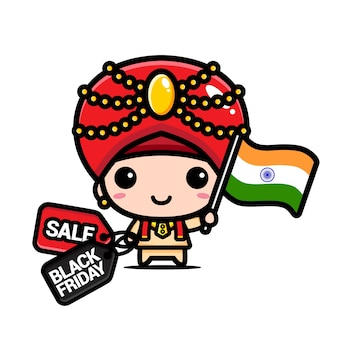 Menino fofo com bandeira indiana e cupom de desconto preto sexta