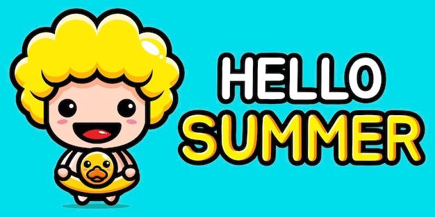 Menino fofo com banner de saudação de verão