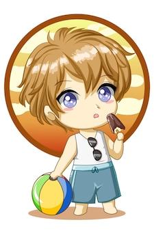 Menino fofo com bola e sorvete na ilustração de desenho de personagem de design de verão
