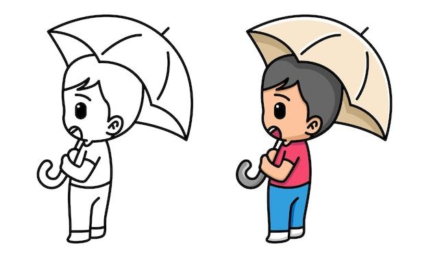 Menino fofo com guarda-chuva para colorir para crianças