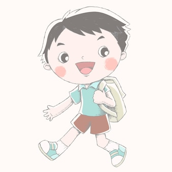 Menino fofo com sua mochila escolar e mostra uma expressão feliz