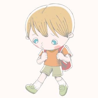Menino fofo com sua mochila escolar e mostra uma expressão triste