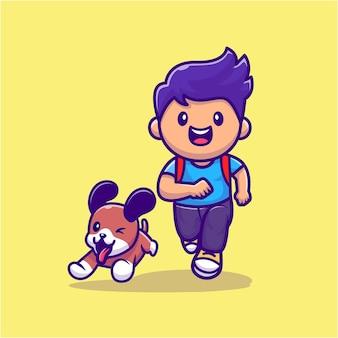 Menino fofo correndo com cachorro