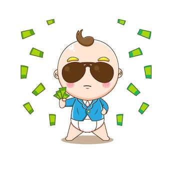 Menino fofo e rico com terno formal e óculos segurando dinheiro