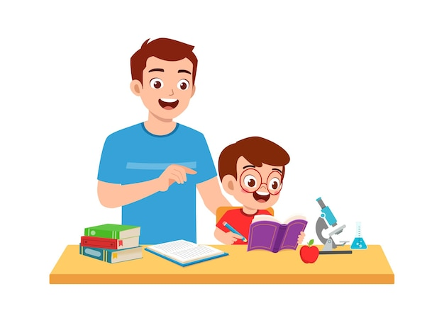 Menino fofo estudando com o pai em casa juntos