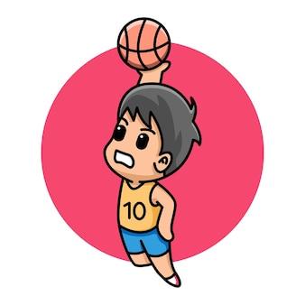 Menino fofo jogando basquete com ilustração de desenho animado