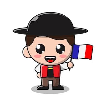 Menino fofo segurando a bandeira de frech ilustração dos desenhos animados