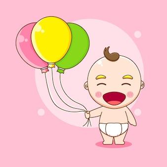 Menino fofo segurando um balão de ilustração