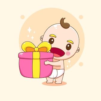 Menino fofo segurando uma ilustração dos desenhos animados de uma caixa de presente