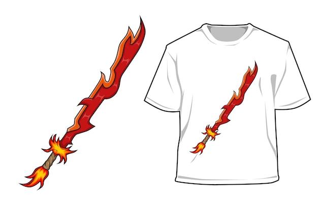 Menino fogo com design de jogo de personagem espada de fogo