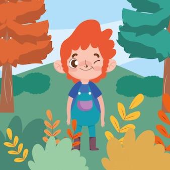 Menino gesto expressão facial personagem dos desenhos animados ao ar livre tema