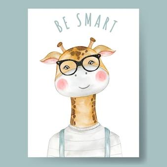 Menino girafa bonitinho usando óculos ilustração aquarela decoração berçário
