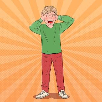 Menino gritando de arte pop arrancando o cabelo