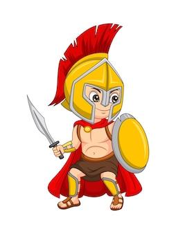 Menino guerreiro espartano de desenho animado segurando espada e escudo