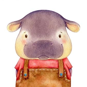 Menino hipopótamo vestido como um humano. ilustração em aquarela de personagem fofa. isolado