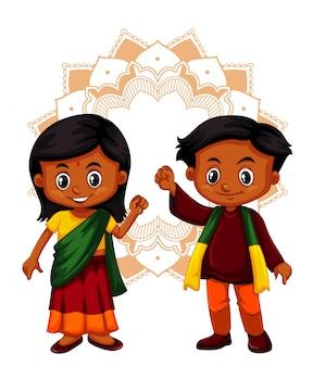 Menino indiano e menina em fundo isolado