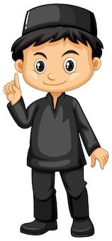 Menino indonésio em roupa preta