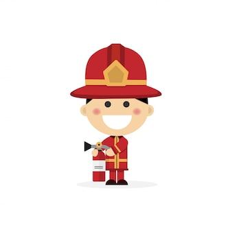 Menino isolado, vestido como bombeiro