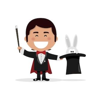 Menino isolado vestido como um ilusionista mágico. ilustração vetorial
