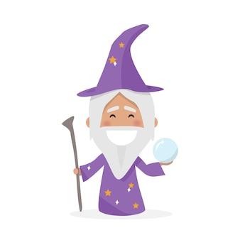 Menino isolado vestido como um mago. ilustração vetorial