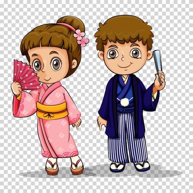 Menino japonês e menina em traje