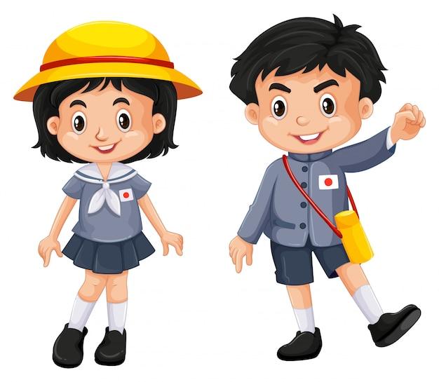 Menino japonês, e, menina, em, uniforme escola