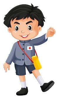Menino japonês em roupa de jardim de infância