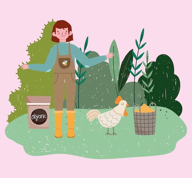Menino jardineiro com galinha grãos campo orgânico plantas ilustração da natureza