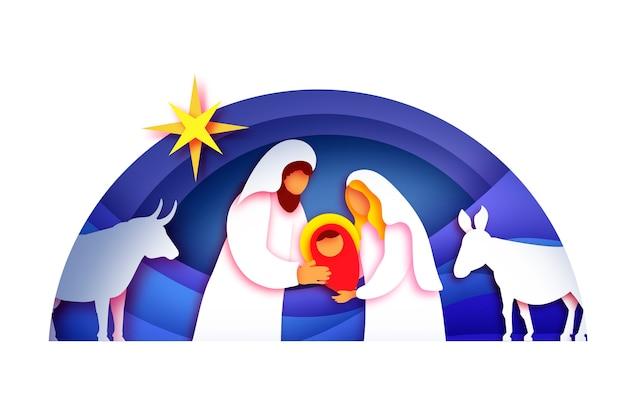 Menino jesus cristo. santo menino e família. maria e josé. nascimento de christ.star of bethlehem - cometa leste. natal da natividade em estilo de papel art. feliz ano novo. animais. azul.