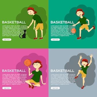 Menino jogando basquete ilustração de faixa plana jovem macho com caráter de gato definido no desenho animado