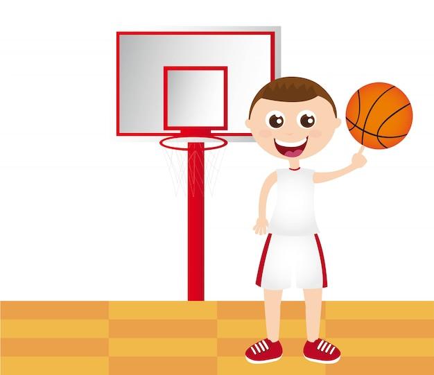 Menino jogando basquete sobre ilustração vetorial de quadra de basquete